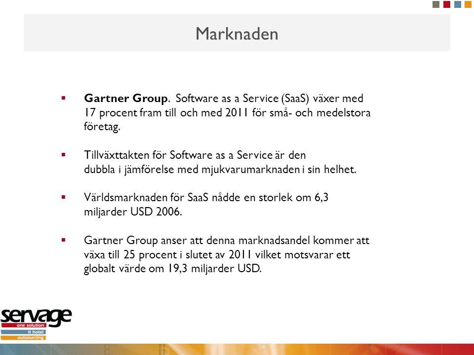 Marknaden  Gartner Group. Software as a Service (SaaS) växer med 17 procent fram till och med 2011 för små- och medelstora företag.  Tillväxttakten