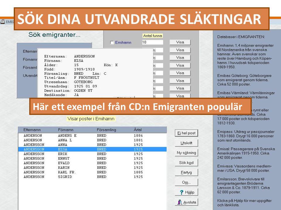 SÖK DINA UTVANDRADE SLÄKTINGAR Här ett exempel från CD:n Emigranten populär