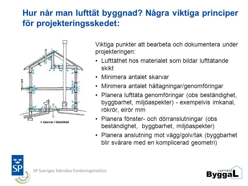 Hur når man lufttät byggnad? Några viktiga principer för projekteringsskedet: Viktiga punkter att bearbeta och dokumentera under projekteringen: •Luft