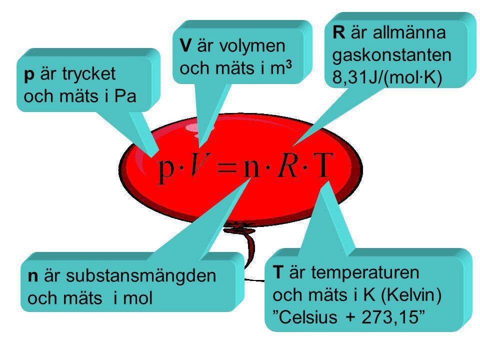 Daltons lag •Varje gas i en gasblandning bidrar med sin del av det totala trycket, d.v.s.