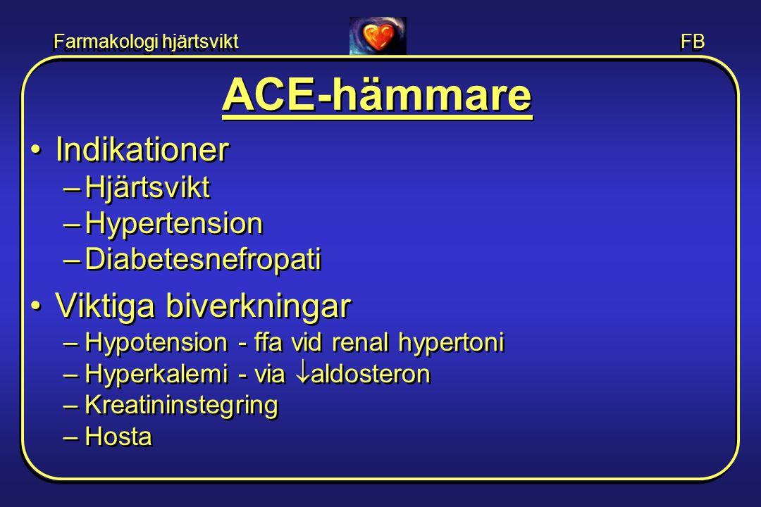 Farmakologi hjärtsvikt FB ACE-hämmare •Indikationer –Hjärtsvikt –Hypertension –Diabetesnefropati •Viktiga biverkningar –Hypotension - ffa vid renal hy