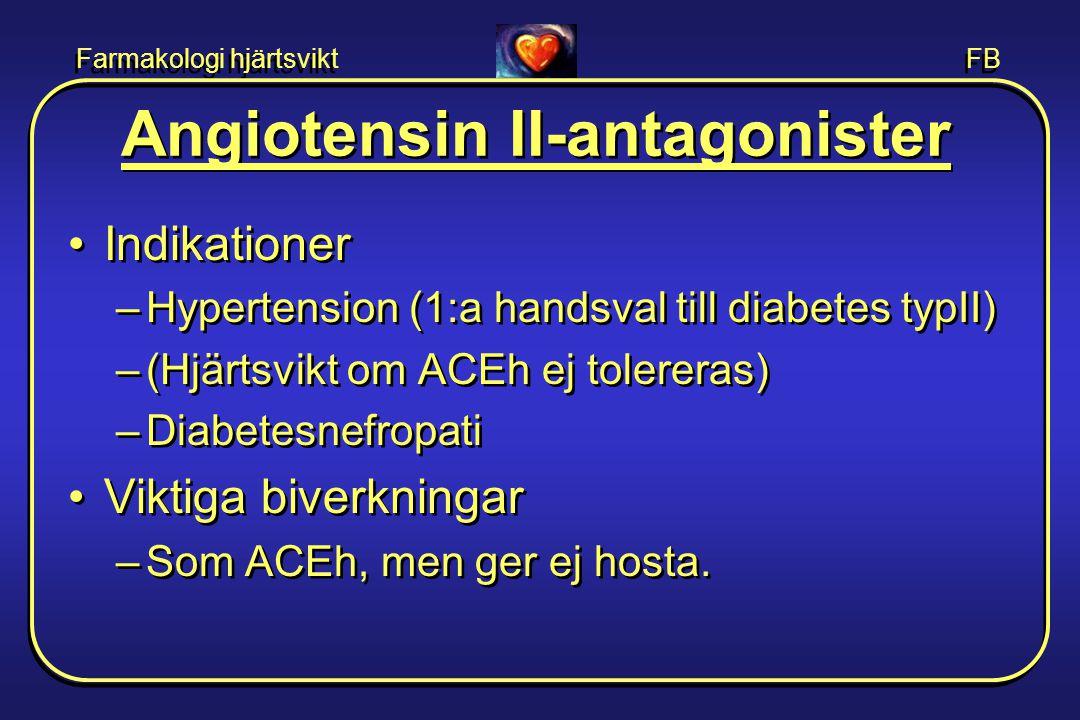Farmakologi hjärtsvikt FB Angiotensin II-antagonister •Indikationer –Hypertension (1:a handsval till diabetes typII) –(Hjärtsvikt om ACEh ej tolereras