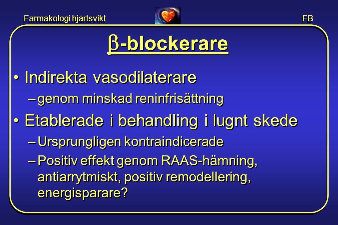 Farmakologi hjärtsvikt FB  -blockerare •Indirekta vasodilaterare –genom minskad reninfrisättning •Etablerade i behandling i lugnt skede –Ursprunglige