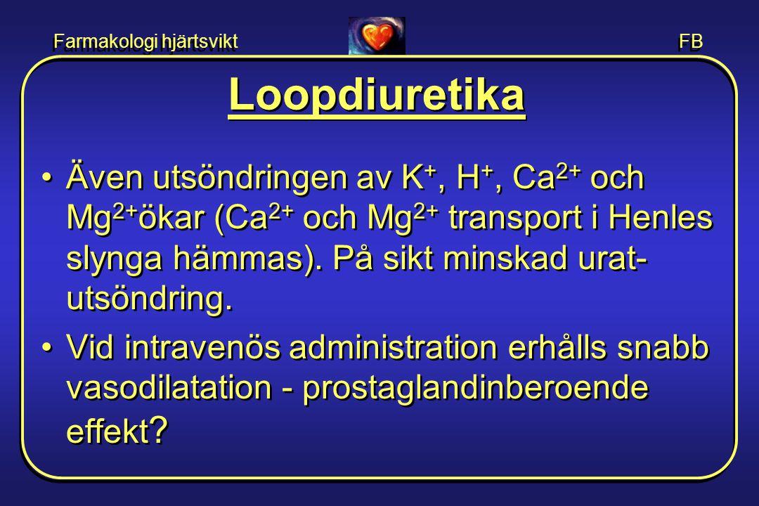 Farmakologi hjärtsvikt FB Loopdiuretika •Även utsöndringen av K +, H +, Ca 2+ och Mg 2+ ökar (Ca 2+ och Mg 2+ transport i Henles slynga hämmas). På si