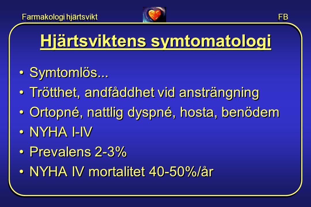 Farmakologi hjärtsvikt FB Diagnostik •Anamnes, klinisk misstanke •Fysikalisk undersökning - ödem.