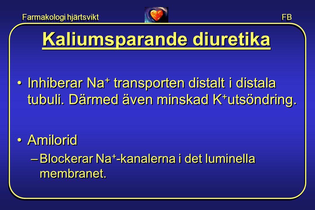 Farmakologi hjärtsvikt FB Kaliumsparande diuretika •Inhiberar Na + transporten distalt i distala tubuli. Därmed även minskad K + utsöndring. •Amilorid
