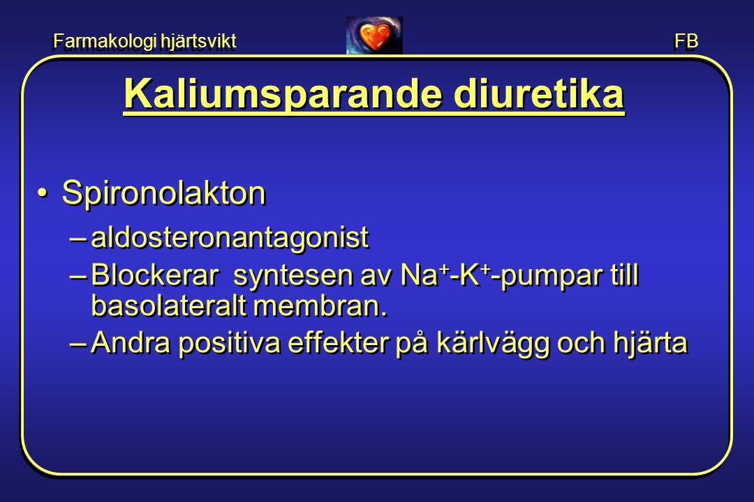 Farmakologi hjärtsvikt FB Kaliumsparande diuretika •Spironolakton –aldosteronantagonist –Blockerar syntesen av Na + -K + -pumpar till basolateralt mem