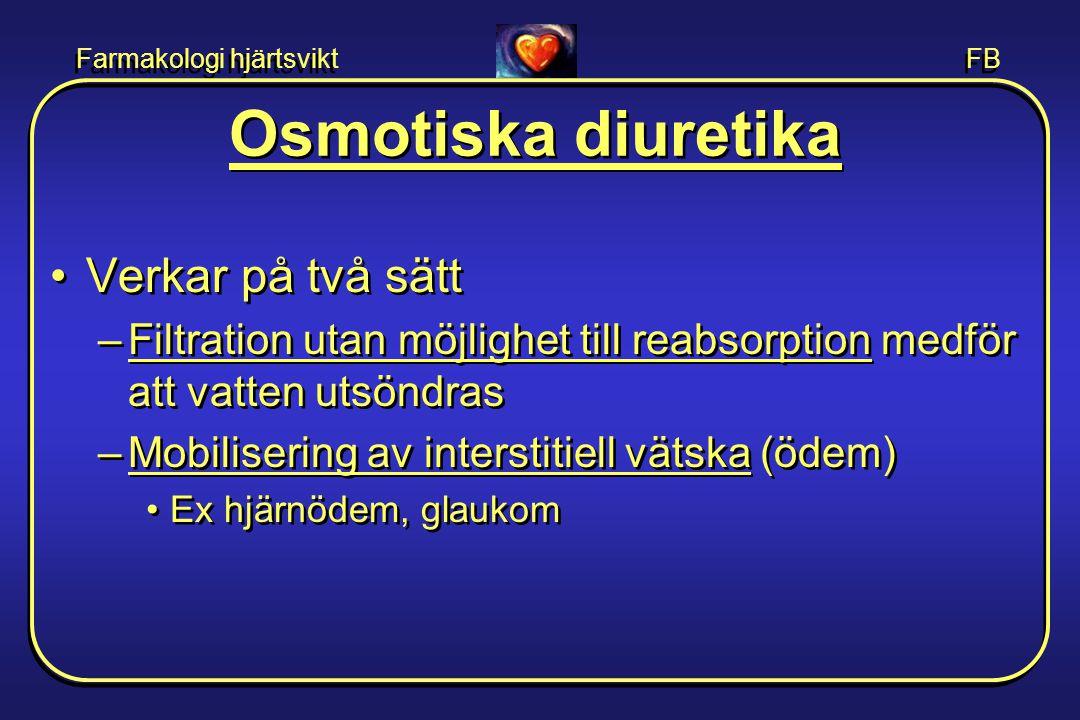 Farmakologi hjärtsvikt FB Osmotiska diuretika •Verkar på två sätt –Filtration utan möjlighet till reabsorption medför att vatten utsöndras –Mobiliseri