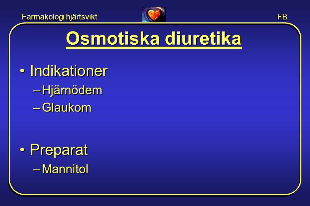 Farmakologi hjärtsvikt FB Osmotiska diuretika •Indikationer –Hjärnödem –Glaukom •Preparat –Mannitol