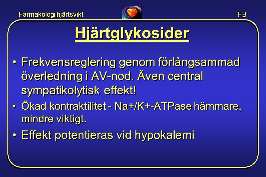 Farmakologi hjärtsvikt FB Hjärtglykosider •Frekvensreglering genom förlångsammad överledning i AV-nod. Även central sympatikolytisk effekt! •Ökad kont