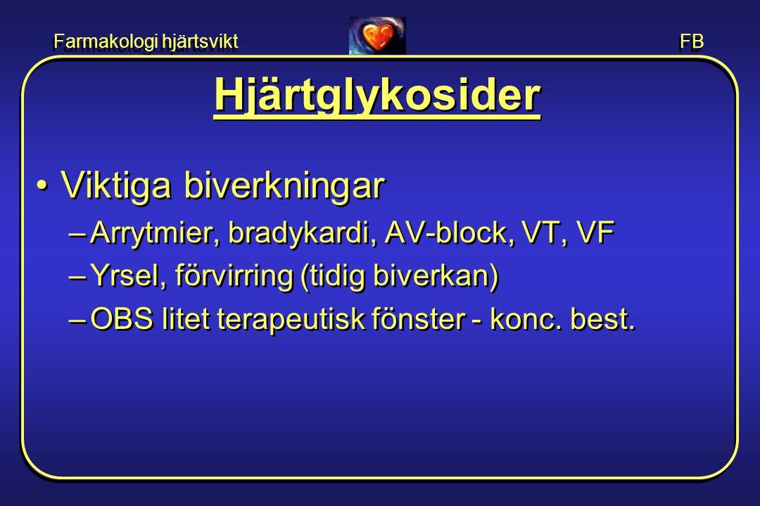 Farmakologi hjärtsvikt FB Hjärtglykosider •Viktiga biverkningar –Arrytmier, bradykardi, AV-block, VT, VF –Yrsel, förvirring (tidig biverkan) –OBS lite