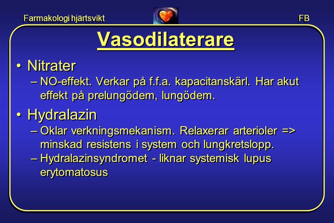 Farmakologi hjärtsvikt FB Vasodilaterare •Nitrater –NO-effekt. Verkar på f.f.a. kapacitanskärl. Har akut effekt på prelungödem, lungödem. •Hydralazin
