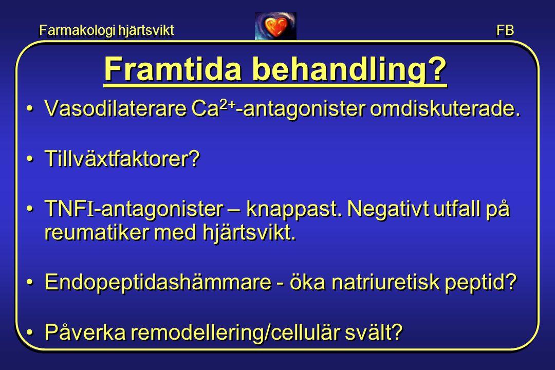 Farmakologi hjärtsvikt FB Framtida behandling? •Vasodilaterare Ca 2+ -antagonister omdiskuterade. •Tillväxtfaktorer? •TNF  -antagonister – knappast.