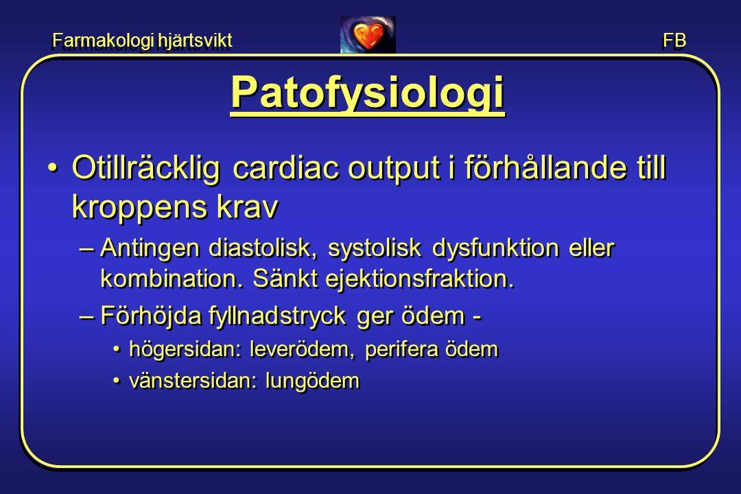 Farmakologi hjärtsvikt FB •Kompensatoriska mekanismer förvärrar genom: –RAAS-aktivering som ger •salt/vatten retention  förhöjda fyllnadstryck •ökat afterload  försämrad vävnadsgenomblödning •fibros i hjärta och kärl.