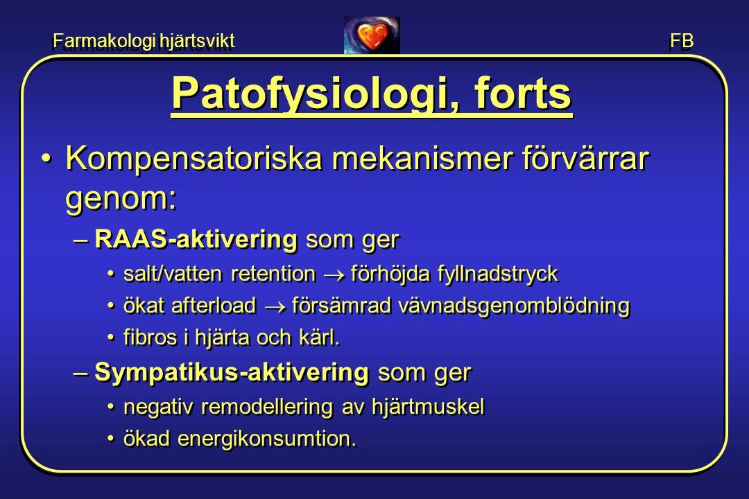 Farmakologi hjärtsvikt FB •Kompensatoriska mekanismer förvärrar genom: –RAAS-aktivering som ger •salt/vatten retention  förhöjda fyllnadstryck •ökat