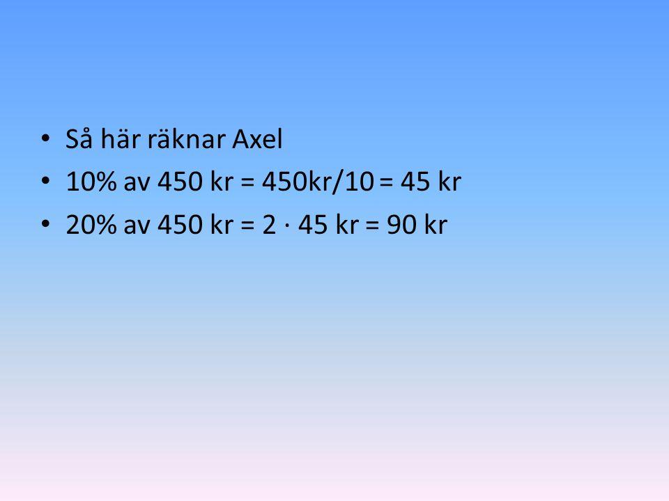 • Så här räknar Axel • 10% av 450 kr = 450kr/10 = 45 kr • 20% av 450 kr = 2 ∙ 45 kr = 90 kr