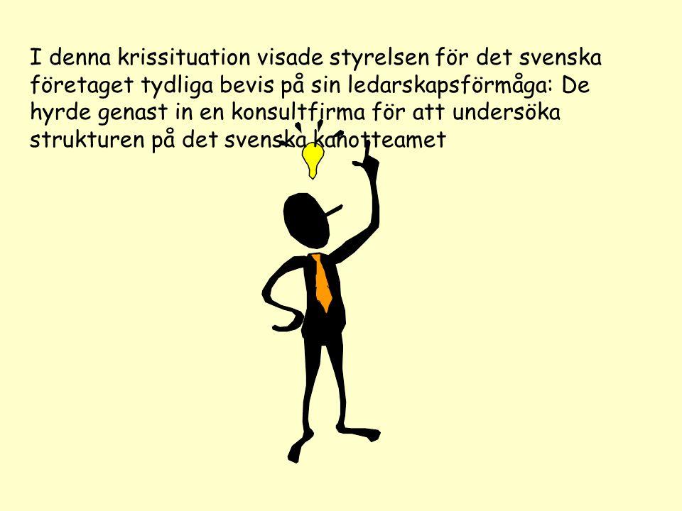 I denna krissituation visade styrelsen för det svenska företaget tydliga bevis på sin ledarskapsförmåga: De hyrde genast in en konsultfirma för att un