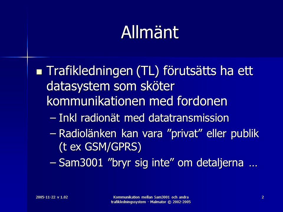2005-11-22 v 1.02Kommunikation mellan Sam3001 och andra trafikledningssystem - Malmator © 2002-2005 3 TL