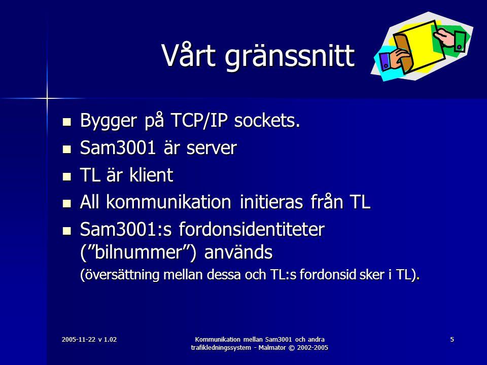 2005-11-22 v 1.02Kommunikation mellan Sam3001 och andra trafikledningssystem - Malmator © 2002-2005 6 Vårt gränssnitt  TL kan skicka 4 slags meddelanden: –Logga in ( TL är aktivt ) –Fråga om uppdrag finns –Skicka in statuskoder (3 tecken) eller textmeddelanden (40 tecken) från fordonen –Logga ut ( TL är inte aktivt ).