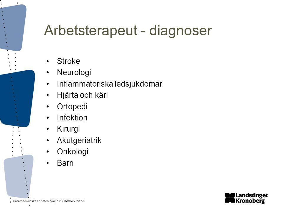 Paramedicinska enheten, Växjö 2008-08-22/hiand Arbetsterapeut - diagnoser •Stroke •Neurologi •Inflammatoriska ledsjukdomar •Hjärta och kärl •Ortopedi