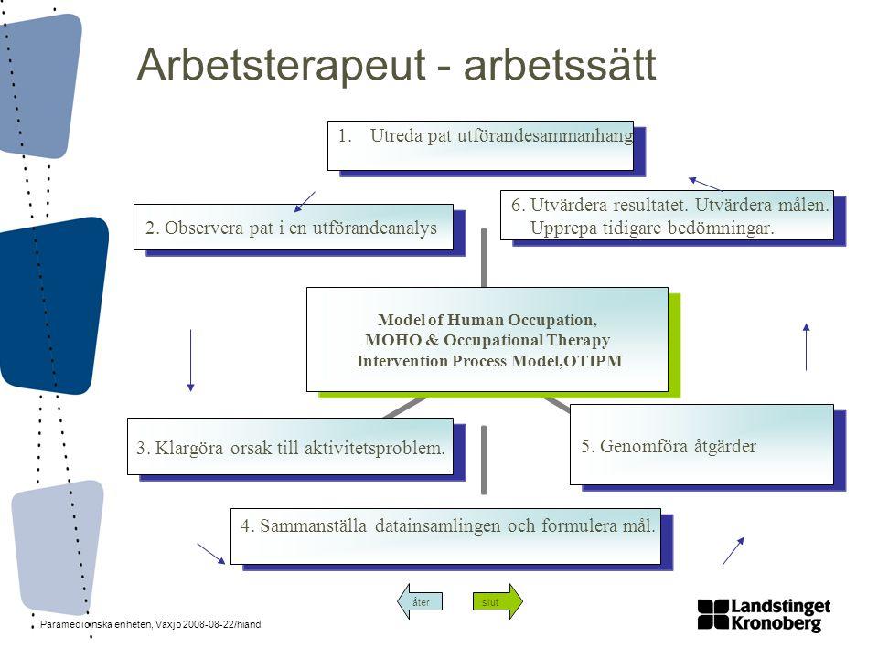 Paramedicinska enheten, Växjö 2008-08-22/hiand Arbetsterapeut - arbetssätt återslut