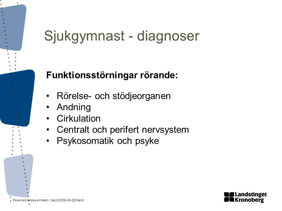 Paramedicinska enheten, Växjö 2008-08-22/hiand Sjukgymnast - diagnoser Funktionsstörningar rörande: •Rörelse- och stödjeorganen •Andning •Cirkulation