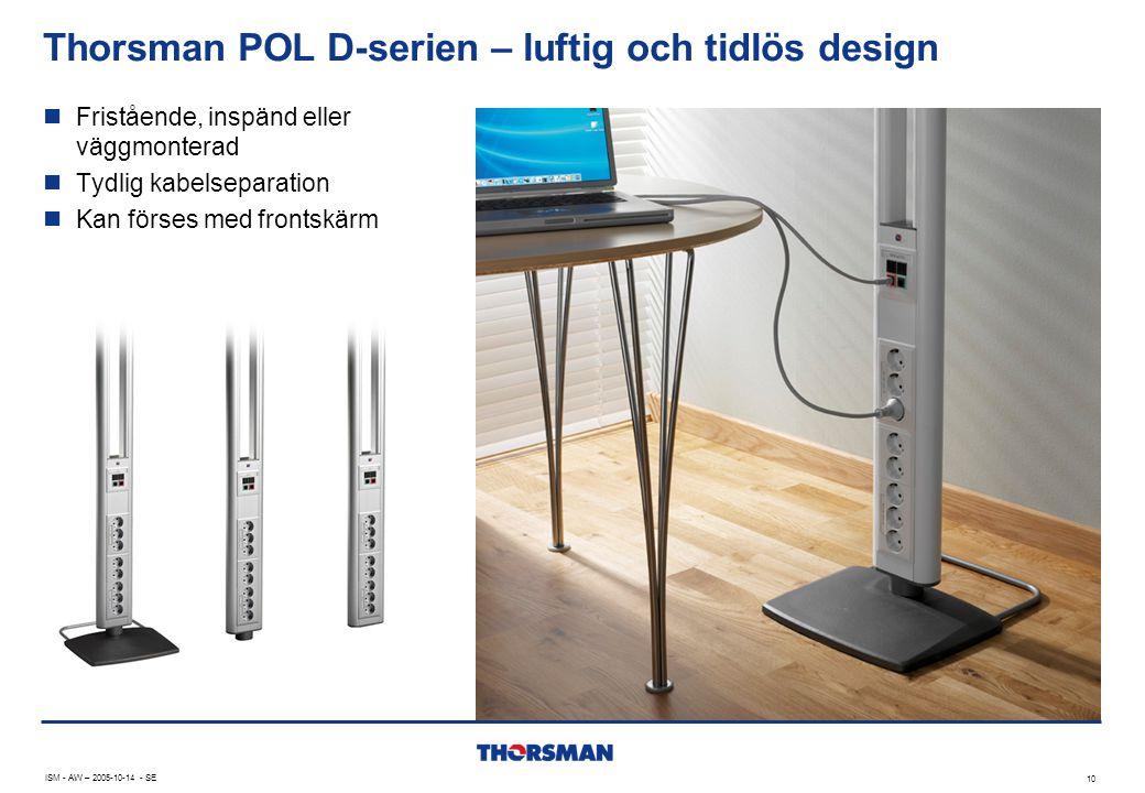 Thorsman POL D-serien – luftig och tidlös design 10 ISM - AW – 2005-10-14 - SE  Fristående, inspänd eller väggmonterad  Tydlig kabelseparation  Kan förses med frontskärm