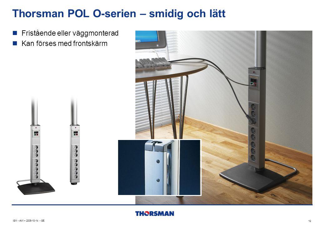 Thorsman POL O-serien – smidig och lätt 12 ISM - AW – 2005-10-14 - SE  Fristående eller väggmonterad  Kan förses med frontskärm