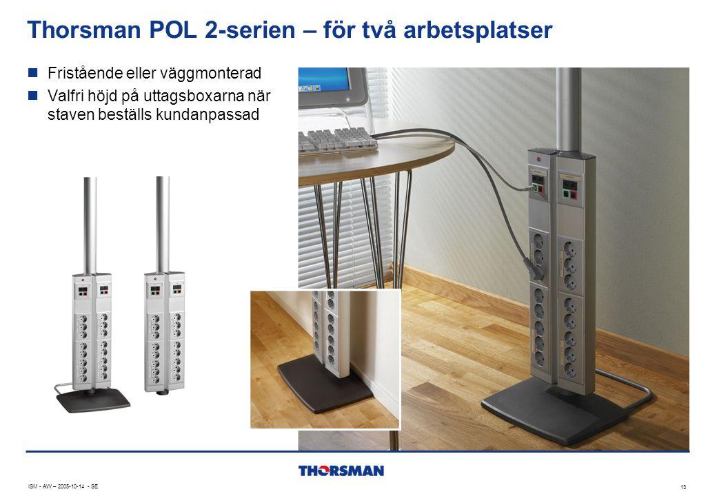 Thorsman POL 2-serien – för två arbetsplatser 13 ISM - AW – 2005-10-14 - SE  Fristående eller väggmonterad  Valfri höjd på uttagsboxarna när staven