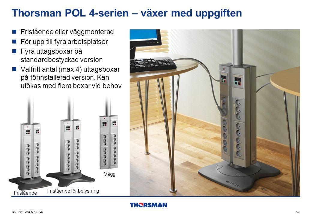 Thorsman POL 4-serien – växer med uppgiften ISM - AW – 2005-10-14 - SE 14  Fristående eller väggmonterad  För upp till fyra arbetsplatser  Fyra uttagsboxar på standardbestyckad version  Valfritt antal (max 4) uttagsboxar på förinstallerad version.