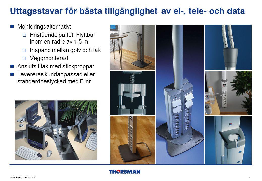 ISM - AW – 2005-10-14 - SE 2 Uttagsstavar för bästa tillgänglighet av el-, tele- och data  Monteringsalternativ:  Fristående på fot. Flyttbar inom e