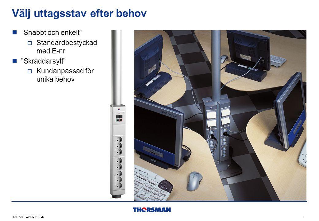 ISM - AW – 2005-10-14 - SE 3 Välj uttagsstav efter behov  Snabbt och enkelt  Standardbestyckad med E-nr  Skräddarsytt  Kundanpassad för unika behov