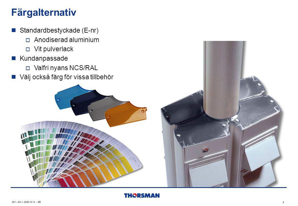 Färgalternativ ISM - AW – 2005-10-14 - SE 5  Standardbestyckade (E-nr)  Anodiserad aluminium  Vit pulverlack  Kundanpassade  Valfri nyans NCS/RAL  Välj också färg för vissa tillbehör