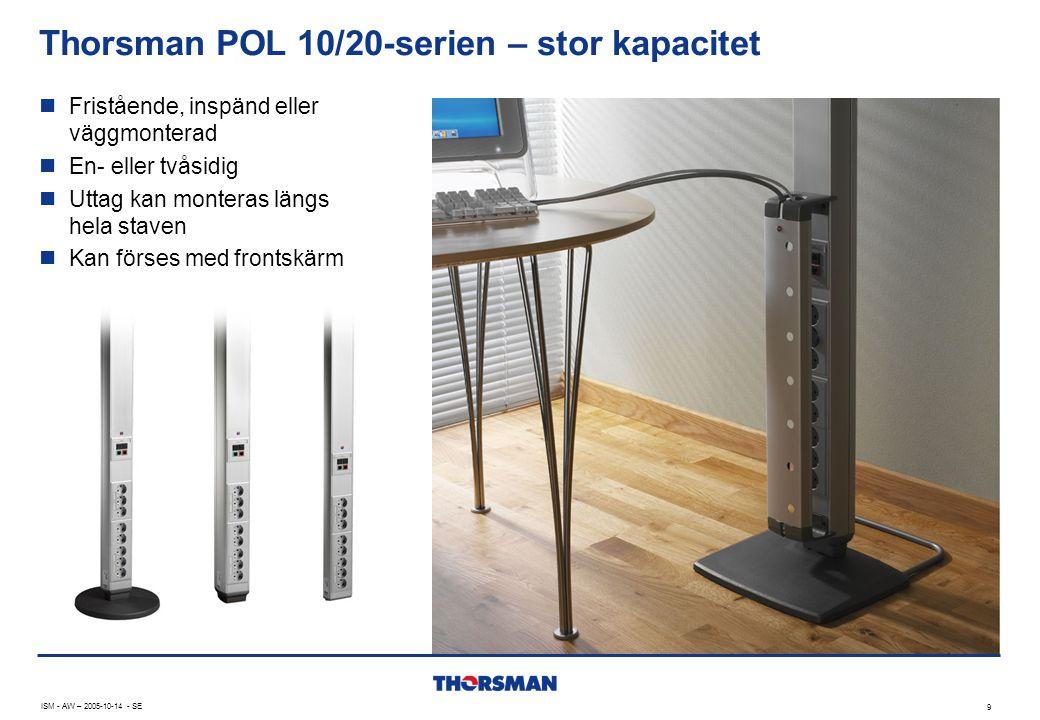 Thorsman POL 10/20-serien – stor kapacitet 9 ISM - AW – 2005-10-14 - SE  Fristående, inspänd eller väggmonterad  En- eller tvåsidig  Uttag kan monteras längs hela staven  Kan förses med frontskärm