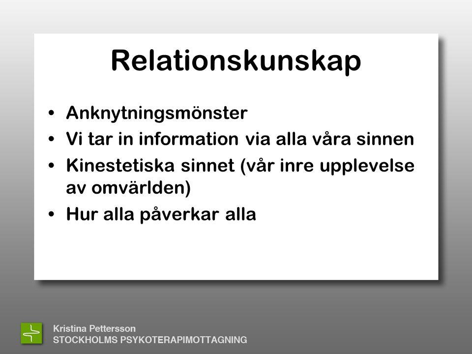 Relationskunskap •Anknytningsmönster •Vi tar in information via alla våra sinnen •Kinestetiska sinnet (vår inre upplevelse av omvärlden) •Hur alla påverkar alla