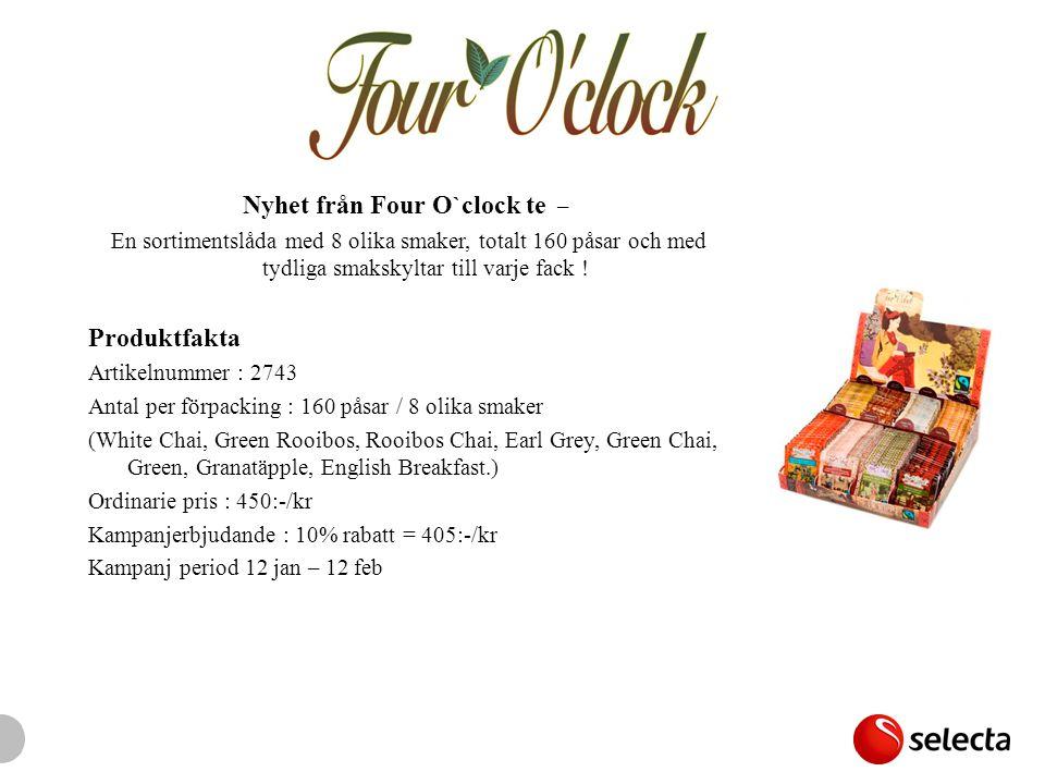 Nyhet från Four O`clock te – En sortimentslåda med 8 olika smaker, totalt 160 påsar och med tydliga smakskyltar till varje fack ! Produktfakta Artikel