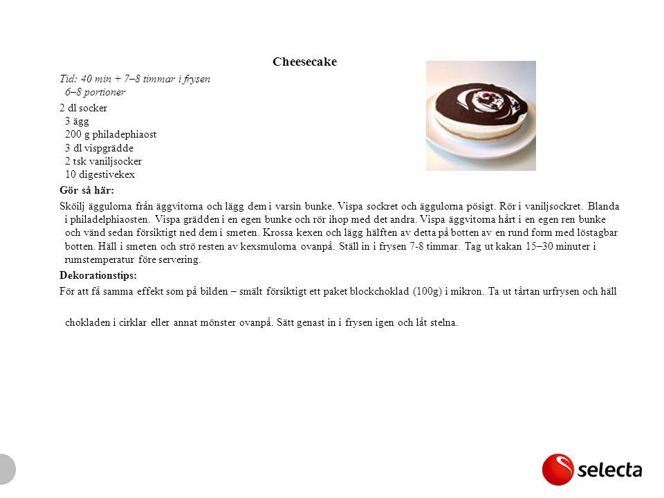 Cheesecake Tid: 40 min + 7–8 timmar i frysen 6–8 portioner 2 dl socker 3 ägg 200 g philadephiaost 3 dl vispgrädde 2 tsk vaniljsocker 10 digestivekex Gör så här: Sköilj äggulorna från äggvitorna och lägg dem i varsin bunke.