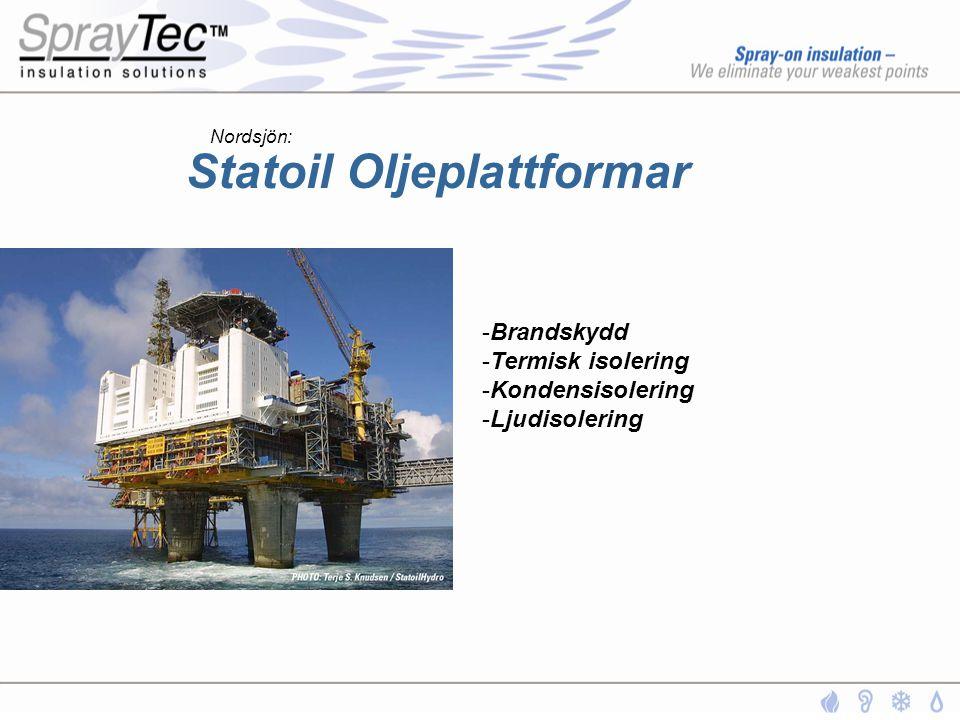 Statoil Oljeplattformar -Brandskydd -Termisk isolering -Kondensisolering -Ljudisolering Nordsjön:
