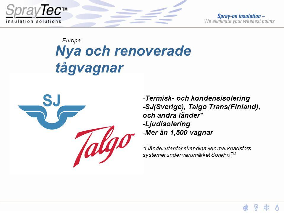 Nya och renoverade tågvagnar -Termisk- och kondensisolering -SJ(Sverige), Talgo Trans(Finland), och andra länder* -Ljudisolering -Mer än 1,500 vagnar