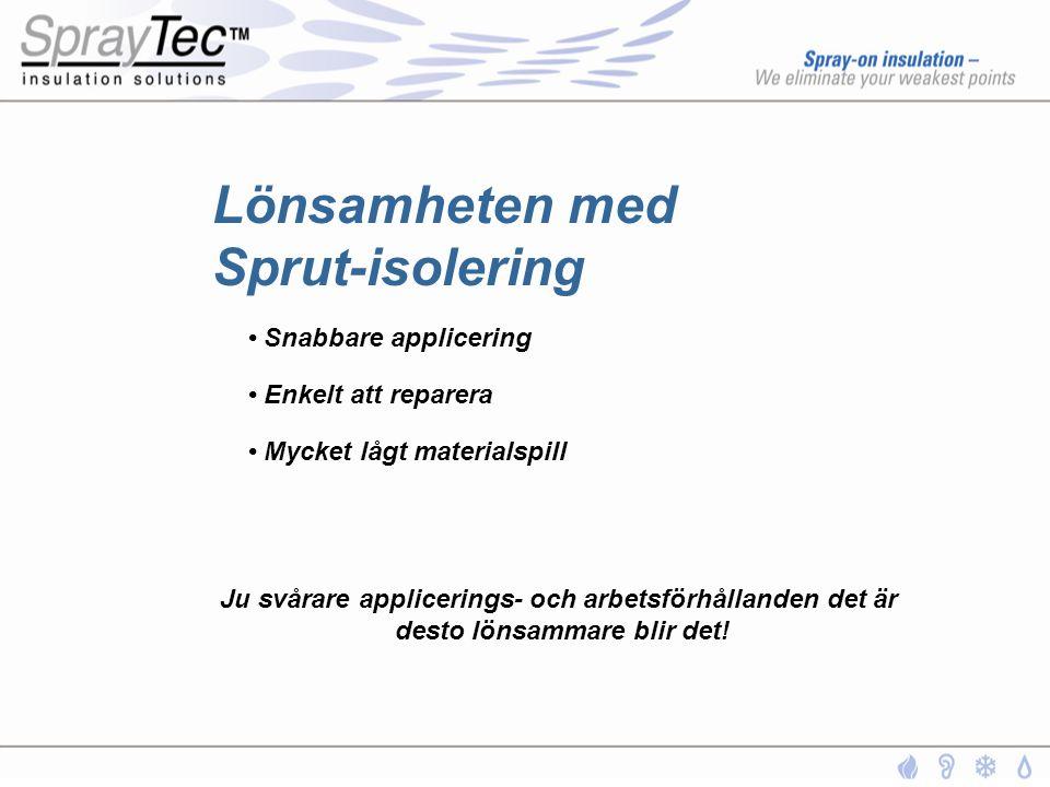 Lönsamheten med Sprut-isolering • Snabbare applicering • Enkelt att reparera • Mycket lågt materialspill Ju svårare applicerings- och arbetsförhålland