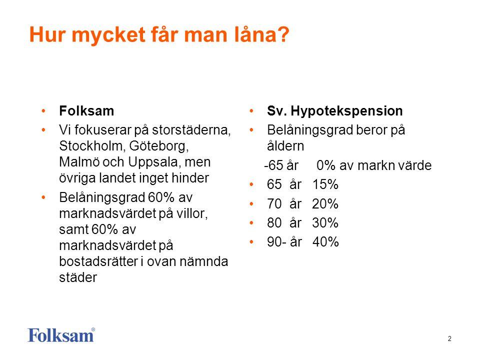 2 Hur mycket får man låna? •Folksam •Vi fokuserar på storstäderna, Stockholm, Göteborg, Malmö och Uppsala, men övriga landet inget hinder •Belåningsgr