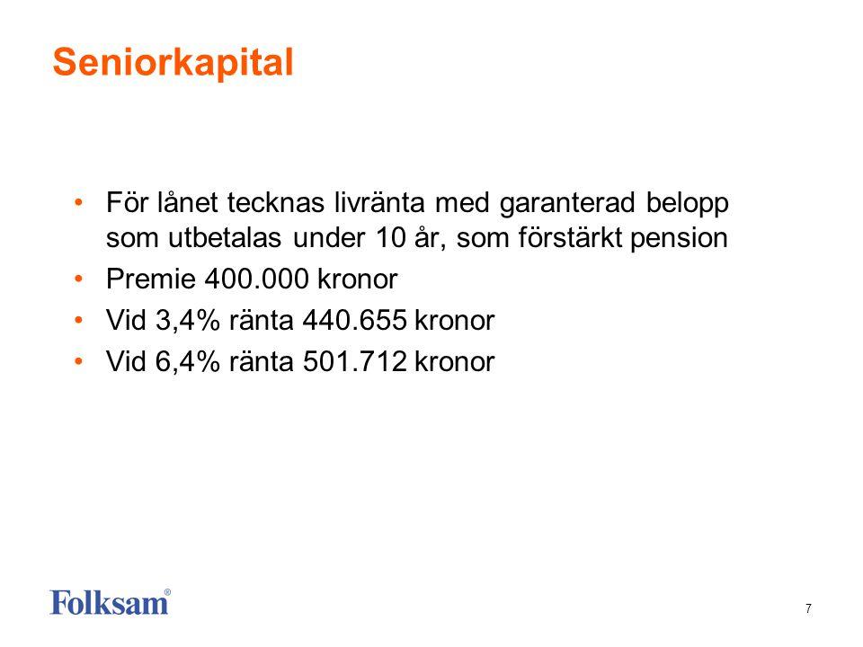 7 Seniorkapital •För lånet tecknas livränta med garanterad belopp som utbetalas under 10 år, som förstärkt pension •Premie 400.000 kronor •Vid 3,4% rä