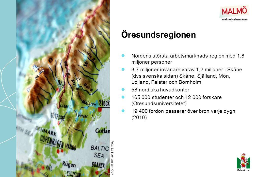 Öresundsregionen Foto: Leif Johansson Xray  Nordens största arbetsmarknads-region med 1,8 miljoner personer  3,7 miljoner invånare varav 1,2 miljone