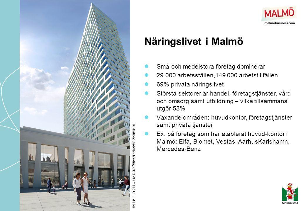 Näringslivet i Malmö Illustration: Cadwalk Media, Arkitektfirmaet: C.F. Møller  Små och medelstora företag dominerar  29 000 arbetsställen,149 000 a
