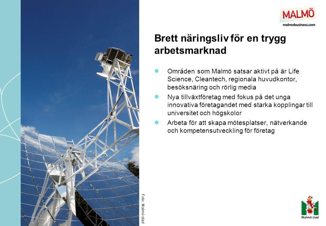 Brett näringsliv för en trygg arbetsmarknad  Områden som Malmö satsar aktivt på är Life Science, Cleantech, regionala huvudkontor, besöksnäring och r