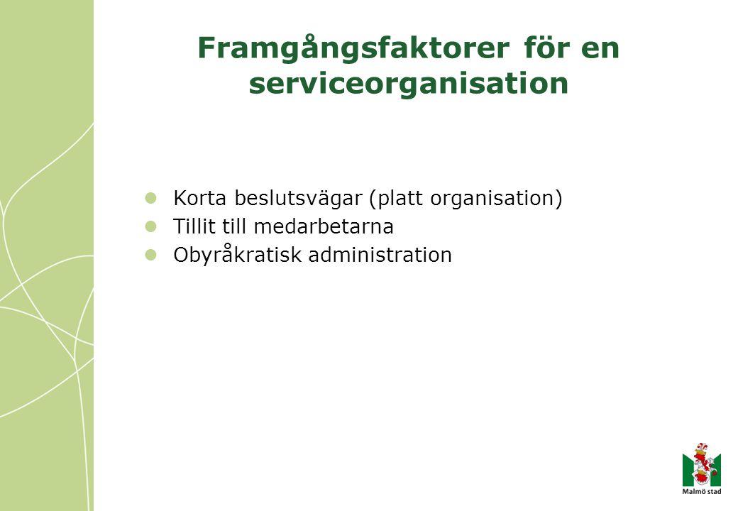 Framgångsfaktorer för en serviceorganisation  Korta beslutsvägar (platt organisation)  Tillit till medarbetarna  Obyråkratisk administration