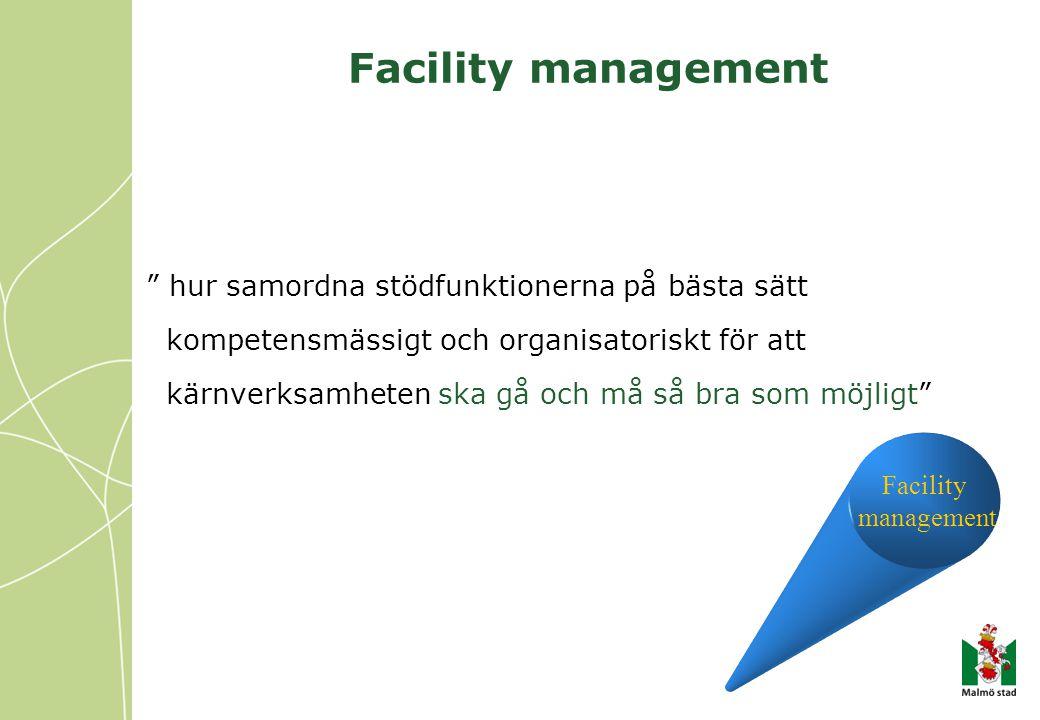 """Facility management """" hur samordna stödfunktionerna på bästa sätt kompetensmässigt och organisatoriskt för att kärnverksamheten ska gå och må så bra s"""