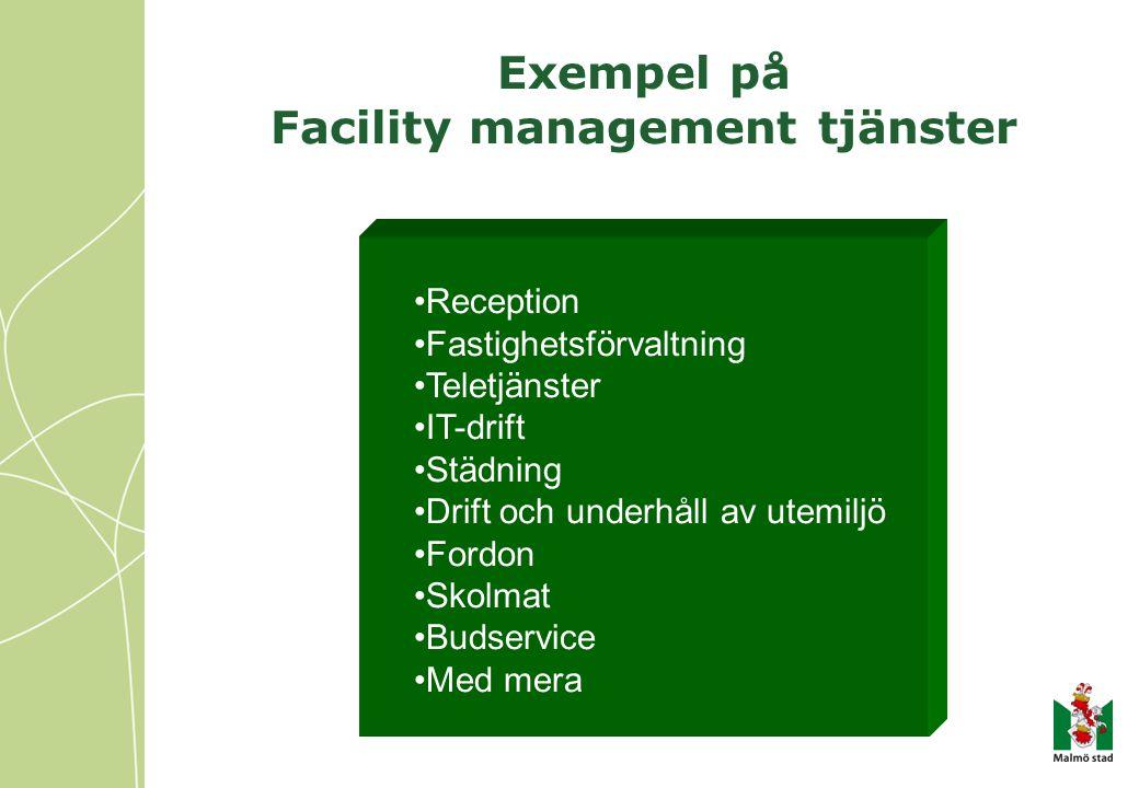 Exempel på Facility management tjänster •Reception •Fastighetsförvaltning •Teletjänster •IT-drift •Städning •Drift och underhåll av utemiljö •Fordon •