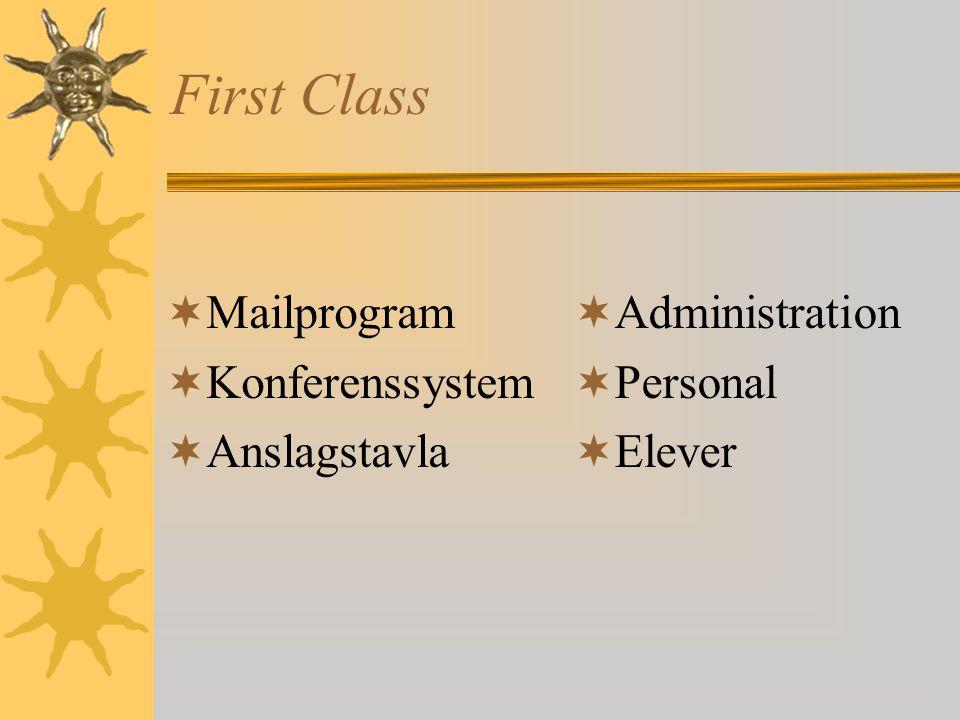 First Class  Mailprogram  Konferenssystem  Anslagstavla  Administration  Personal  Elever