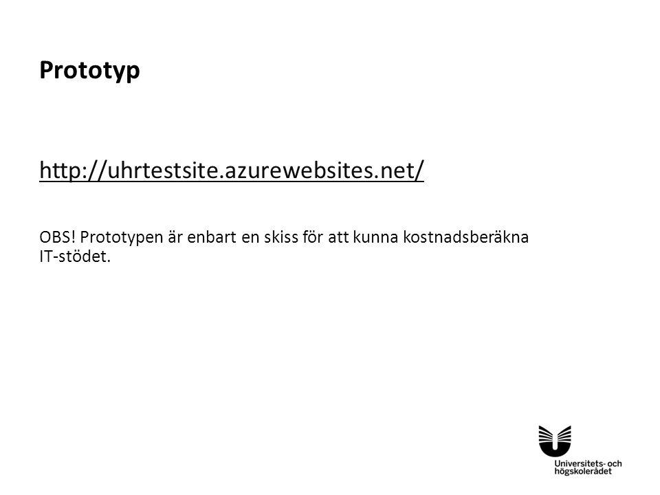 Sv Prototyp http://uhrtestsite.azurewebsites.net/ OBS! Prototypen är enbart en skiss för att kunna kostnadsberäkna IT-stödet.